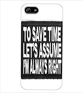 ColourCraft Quote Design Back Case Cover for APPLE IPHONE 5