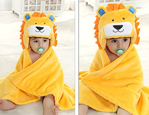 Dizhome Spring Autumn Kid Baby Girl Boy Bathrobe Towel Cloak Yellow Lion Cartoon Ultra-Soft Flannel Baby Blanket Suitable For 0-2 Years Old