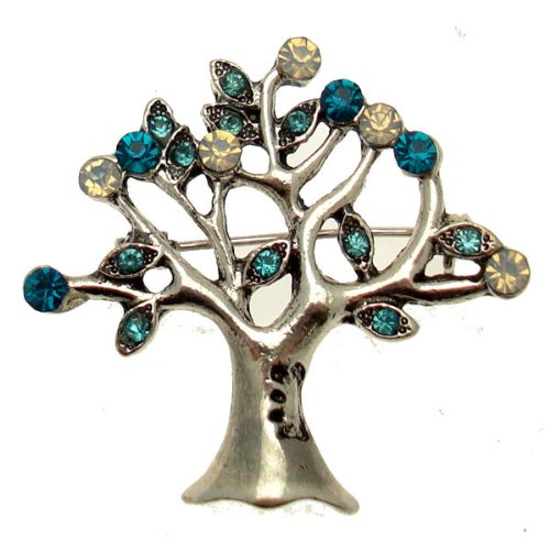 Acosta Brooches - Turquoise, Aqua Blue & Opal Swarovski Crystal - Vintage Style Tree of Life Brooch - Gift Boxed