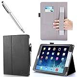 iPad Air Case, i-BLASON Apple iPad Air Case Auto Wake/ Sleep Smart Case Leather Case (Elastic Hand Strap, Multi-Angle, Card Holder) With Bonus Stylus (Multi-Color to Choose From) 3 Year Warranty (Black)
