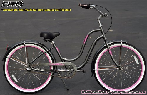 Anti-Rust Aluminum Frame, Fito Verona Aluminum Alloy Shimano 3-speed women's Grey/Pink Beach Cruiser Bike Bicycle Micargi Firmstrong Schwinn Style