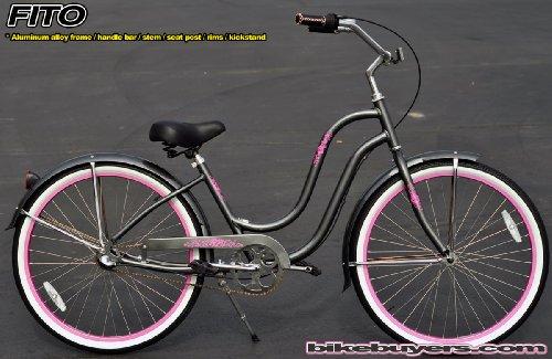 Anti-Rust Aluminum Frame, Fito Verona Aluminum Alloy Shimano 3-speed women's Grey/Pink Beach Cruiser Bike Bicycle Micargi Firmstrong Schwinn Style