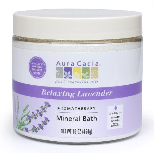 Aura Cacia Aromatherapy Mineral Bath, Relaxing Lavender, 16 ounce jar (Pack of 2) Aromatherapy Bath Lavender