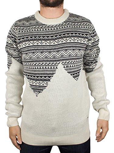 Bellfield Uomo Harpar Glitchy Jacquard Knit, Bianco, X-Large