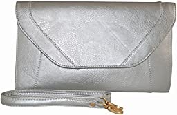 Patzino Fashion Collection, Faux Leather Women\'s Envelope Clutch/ Purse (Flat Silver)