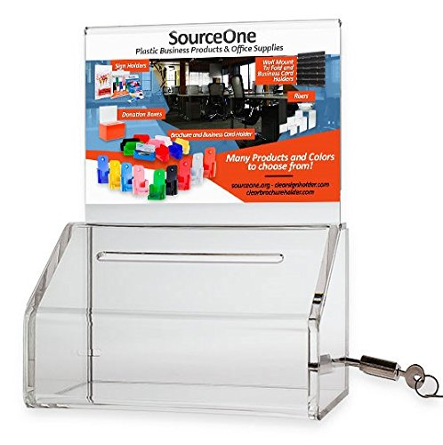 SourceOne Donation Box with Lock - 5-Inch Wide Acrylic Storage Container - Clear Sign Holder (Cash Container compare prices)