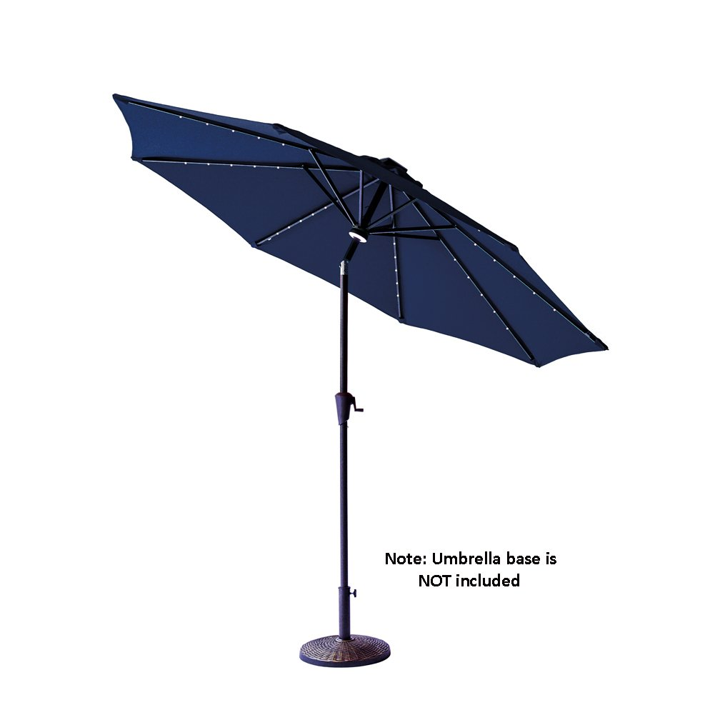 C-Hopetree 9 feet Solar LED Lights Outdoor Patio Market Umbrella with Crank Winder, Auto Tilt, Navy Blue