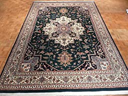 9 x 12\'6 HAND KNOTTED GREEN PERSIAN HERIZ DESIGN ORIENTAL RUG G398