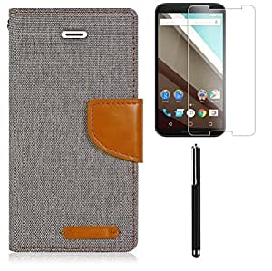 Relax&Shop Combo of Quality Flip For MOTOROLA MOTO E (2nd Gen) - (Grey Flip+ Tempered+ Stylus )