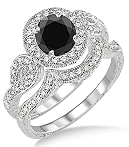 1.5 Carat Black Diamond Antique Halo Bridal Set Engagement Ring on 10k White Gold