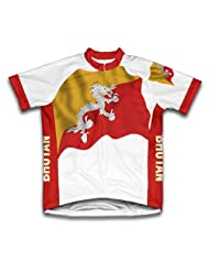 Bhutan Flag Short Sleeve Cycling Jersey for Women