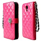 EFuture(TM) Hot Pink Crystal Camelia Magnet Flip Strap Book Quilted Sheep Leather Wallet Case Cover For Samsung Galaxy S4-I9500 +eFuture's nice Keyring