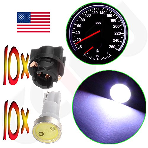 CCIYU 10x White T5 Twist Socket PC74 Instrument Panel Cluster Dash Light Bulb 37 73 17 T5 Led Bulbs For Dashboard Gauge Light (1999 Chevy S10 Dash Panel compare prices)