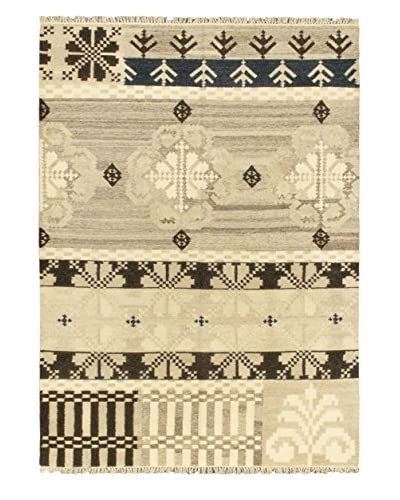 Hand-Woven Istanbul Yama Wool Kilim, Beige, Pink, 5' 7 x 7' 10