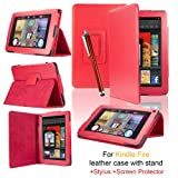 eLifeStore� Kindle Fire PU Leather Case Cover Multi-Function Flip Stand Wallet Book (NOT FOR HD), Bonus: Capacitive Stylus Pen + Screen Protector for Amazon Kindle Fire 7 inch LCD Display Wi-Fi 8GB Android Tablet - 2011 Model, NOT for HD (Red)by SAVFY