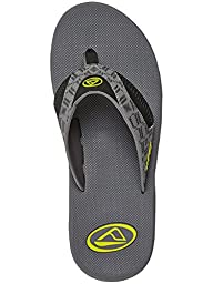 Men\'s Reef, Fanning prints Flip Flop Sandals GREY GREEN 14 M