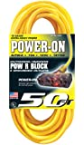 US Wire 76050 12/3 50-Foot SJTW Yellow Heavy Duty Extension Cord with Lighted Pow-R-Block