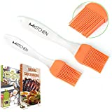 mKitchen Silicone Basting Pastry Oil Brush Set of 2 - 2 Recipe eBooks - Good for Grilling Marinating Turkey Baster and Barbecue Utensil - Desserts Baking