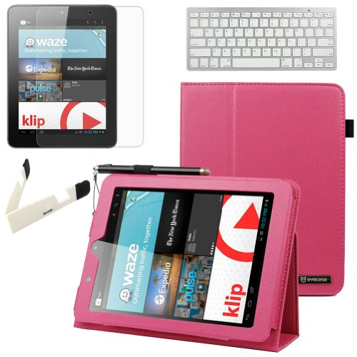 Birugear Slimbook Leather Folio Stand Case W/ Keyboard, Screen Protector For Nextbook Premium 8Hd (Nx008Hd8G) - 8'' Tablet [June 2013 Walmart Release By E-Fun] ( Hot Pink )