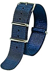 Sutter & Stockton 20mm Navy Blue Interchangeable Replacement Nylon Military Watch Strap Band
