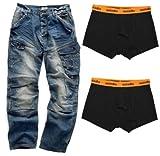 Scruffs Drezna Jeans Stonewashed & Boxer Shorts 2 Pack Work Trousers Combats (Size: Jeans - Boxer Shorts) - 32 - Xl
