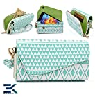 -WHITE MINT BLUE- Tribal-Urban Style Phone Case Walllet Clutch Nokia Lumia 521 | 929 | 525 Phone Case Wrist-let + Bonus Ekatomi Screen Cleaner -ESMLUCG1-