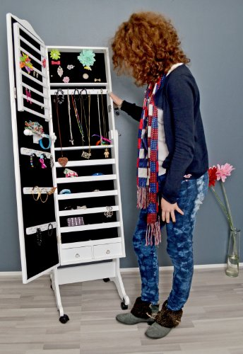 rollbarer schmuckschrank mit gro em xxl spiegel. Black Bedroom Furniture Sets. Home Design Ideas