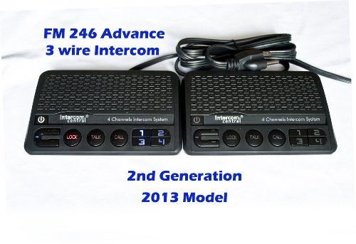 Intercom Central® FM246 Gen-2 Advance 3 Wire Power-line wireless Intercom System, Black, Two Units