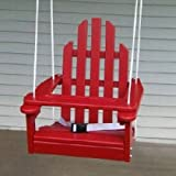 Childrens Adirondack Swing - Rope & Seat Belt Included - Weather Resistant Aspen Wood -16 Inches square x 20 inches High - Made in USA