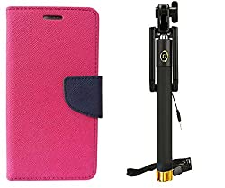 Novo Style Wallet Case Cover For Motorola Moto G (Gen 3) Pink + Wired Selfie Stick No Battery Charging Premium Sturdy Design Best Pocket Sized Selfie Stick