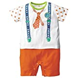TheTickleToe Kids Baby Boys Kids Cotton One Piece Neck Tie Printed Romper Orange White 12-18 Months