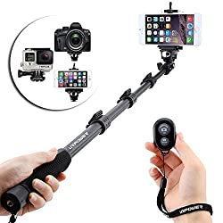 URPOWER® Heavy Duty Dual-purpose Handheld Professional Selfie Stick Monopod Camera Extender Pole with Tripod Mount for Gopro Hero 3+ 3 2 1 Camera with Adjustable Phone Adapter & Wireless Bluetooth Camera Remote Control Shutter Release for iPhone 6 6S,5 5S 5C,4 4S,Samsung S3 S4 S5,Note 2 Note 3 Note 4 and Other Android Smartphones