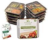 |10 pack| 3 Compartiment Meal Prep des récipients alimentaires. Boîte Bento Tupperware définir avec couvercles. Sécuritaire pour lave-vaisselle, four micro-ondes et d'un congélateur. Empilables, réutilisables et d' entreposage des aliments en plastique sans BPA / boîte à lunch des conteneurs avec séparateurs + EBook...
