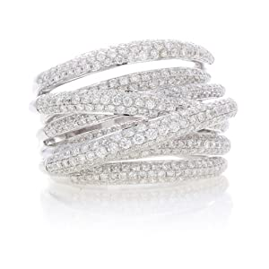 14k White Gold 1.95 Carat Diamond Stackable Ring