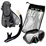 Seavenger Diving Snorkel Set- Dry Top Snorkel / Trek Fin / Single Len Mask / Gear bag- Black Silicon - Small/Medium