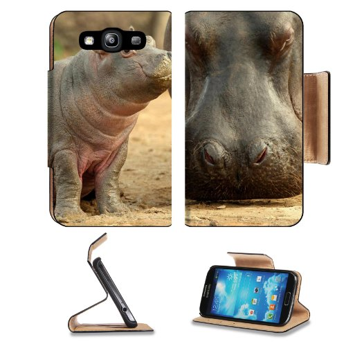 Hippopotamus Animal Mammal Nature Wild African Hippos Baby Samsung Galaxy S3 I9300 Flip Cover Case With Card Holder Customized Made To Order Support Ready Premium Deluxe Pu Leather 5 Inch (132Mm) X 2 11/16 Inch (68Mm) X 9/16 Inch (14Mm) Liil S Iii S 3 Pro