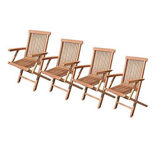 divero gartenstuhl teak holz massiv mit armlehne klappbar. Black Bedroom Furniture Sets. Home Design Ideas