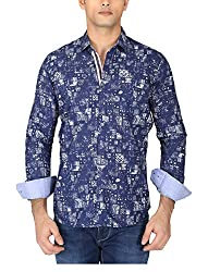 EASIES Men's Casual Shirt (81554 WALLET E702UASFFSSC NVYABSTCPRNT_L, Blue, Large)