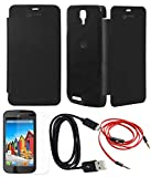 TBZ Flip Cover Case -Black for Micromax Canvas Juice A177 with Screen Guard and Data cable + AUX Cable