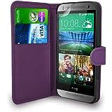 HTC One Mini 2 - Leder Tasche Flip Case Cover Tasche + Schutzfolie & Polieren Tuch ( Dunkel Lila )