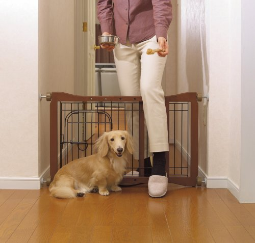 Richell Wood Pet Sitter Gate, Autumn Matte Finish