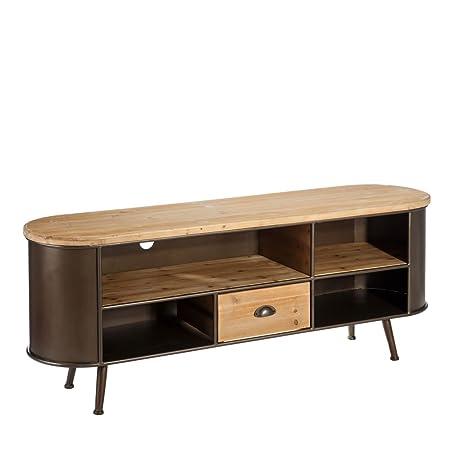 Mueble de TV de metal con 1 cajón marrón industrial para salón Bretaña - Lola Home