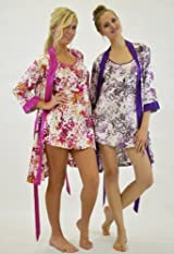 Silk Floral Kimono Robe 3/4 sleeves - Pink or Lavender