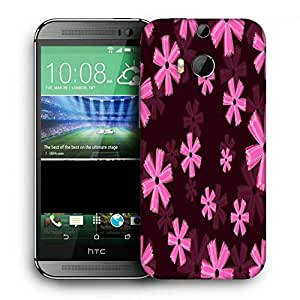 Snoogg Pink Floral Marron Pattern Printed Protective Phone Back Case Cover For HTC One M8