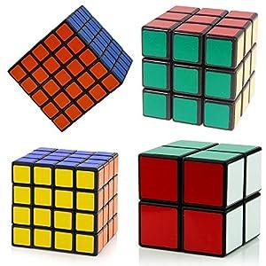 Shengshou Magic Cube Puzzle Set of 2x2x2 3x3x3 4x4x4 5x5x5 Black