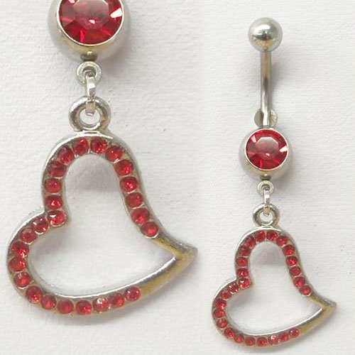 Red Gem Heart Belly Button Navel Ring Dangle Piercing Body Jewelry - Free Shipping