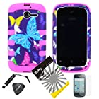4 items Combo: ITUFFY(TM) LCD Screen Protector Film + Mini Stylus Pen + Case Opener + Purple Pink Green Yellow Blue Multi Color Butterfly Design Rubberized Hard Plastic + Black Soft Rubber TPU Skin Dual Layer Tough Hybrid Case for Huawei Ascend Y M866/ H866 / H866C (Straight Talk / U.S.Cellular)