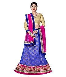 Manvaa Women Net Lehenga Choli(Blue_ASNB2119blue_Free Size)