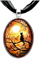 Black Cat and Full Moon Necklace Handmade Art Pendant