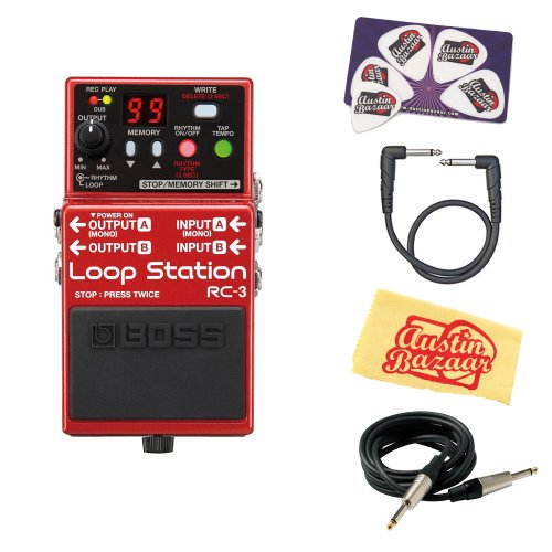 Boss Rc-3 Loop Station Guitar Effects Pedal Bundle With Instrument Cable, Patch Cable, Picks, And Polishing Cloth